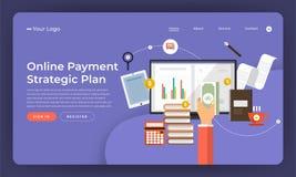 Mock-up design website flat design concept digital marketing. On. Line Payment Plan. Vector illustration Royalty Free Stock Images