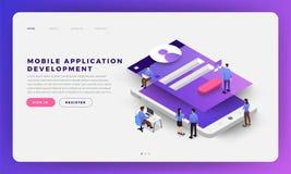 Mobile App Development. Mock-up design website flat design concept mobile app development with developer coding and working together. Isometric Vector stock illustration