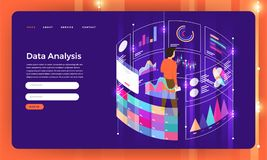 Mock-up design website flat design concept digital marketing dat. A analysis with graph chart. Vector illustration stock illustration