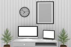 Mock up design in white room with laptop and computer interior in 3D rendering. Mock up frame photo design in white room with laptop and computer interior in 3D Stock Photos