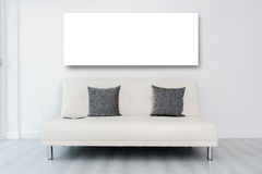 Mock up display white frame andTablet on white stock photography