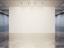Mock up of empty canvas with white bricks. 3d Stock Image
