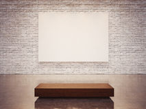 Mock up of empty canvas and white wall . 3d render Royalty Free Stock Photography