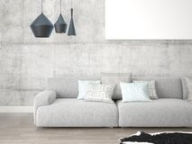 Mock up an empty frame with a large comfortable sofa. Mock up an empty frame with a large comfortable sofa on the hipster background Royalty Free Stock Images