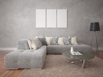 Mock up empty frame with modern stylish sofa. Stock Photo