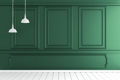 Mock up Empty luxury room interior with dark green wall on white wooden floor. 3D rendering. Empty luxury room interior with dark green wall on white wooden vector illustration