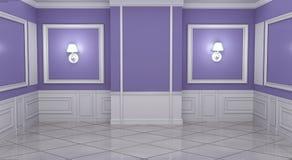 Mock up Empty luxury room interior moulding design with wall on granite tile floor. 3D rendering. Empty luxury room interior moulding design with wall on granite vector illustration