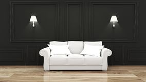 Mock up Empty luxury room interior with sofa in room black wall on wooden floor. 3D rendering. Empty luxury room interior with sofa in room black wall on wooden royalty free illustration