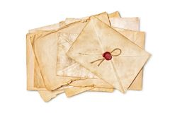 Mock up of empty old vintage yellowed papers with red wax seal royalty free stock photos