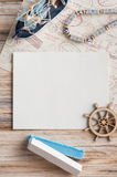 Mock-up, empty paper note, boat and stamps Royalty Free Stock Images