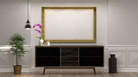 Mock up empty photo frame with wooden cabinet with lamp in front of empty white wall decorative items minimal style in empty room royalty free stock photo