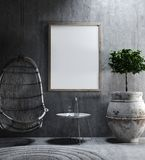 Mock-up in ethnic interior background. 3d render royalty free stock photography