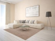 Mock up an exclusive living room with a corner beige sofa. Stock Photography