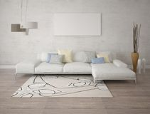 Mock up an exclusive living room with a stylish corner sofa. Stock Images