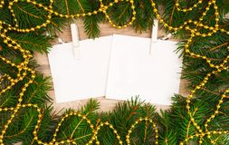 Mock up, with fir branches, christmas, new year Stock Photography