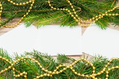 Mock up, with fir branches, christmas, new year Stock Photos