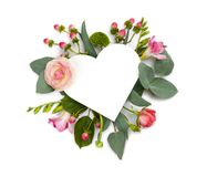 Mock up with flowers and heart shape copy space area Stock Images