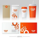 Mock up food and drink packages. Orange style. Corporate identity template set with pattern of fast food restaurant. Business card, paper cups and packs royalty free illustration