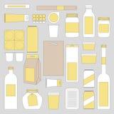Mock up food packages. Banks, tin, packaging, bottles and other mockups. A set of simple mock up royalty free illustration