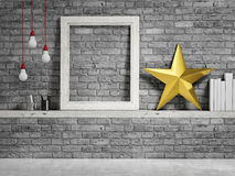 Mock up frame, brick wall and golden christmas star. 3d illustration Royalty Free Stock Photo