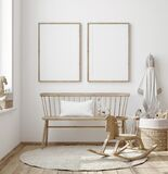 Mock up frame in children room with natural wooden furniture, Farmhouse style interior background