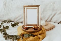 Mock Up Frame. Hipster Home Decor. Trendy Composition royalty free stock photography