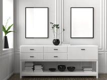 Mock up frame in hipster interior background. 3D illustrating. Mock up frame in hipster interior background. 3D illustrating Stock Images