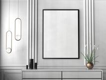 Mock up frame in hipster interior background. 3D illustrating. Mock up frame in hipster interior background. 3D illustrating Royalty Free Stock Photography