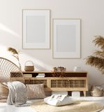 Mock up frame in home interior background, beige room with natural wooden furniture, Scandinavian style. 3d render royalty free stock images