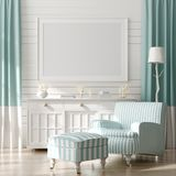 Mock up frame in home interior background, coastal style living room with marine decor.