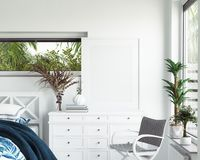 Free Mock Up Frame In White Cozy Tropical Bedroom Interior, Coastal Style Royalty Free Stock Photos - 161054178