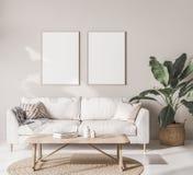 Mock up frame poster in Scandinavian living room with beige sofa