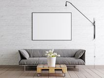 Mock up frame poster in scandinavian style livingroom with fabric sofa, lamp and plant in bucket on white wall background. stock illustration