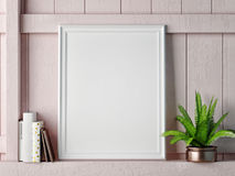Mock up frame on rose wooden wall Royalty Free Stock Photos