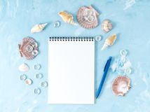 Mock up with frame of seashell and notepad on blue backdrop, scallop shell, copy space. Summer concept of holiday by sea. Mock up with a frame of seashell and Stock Photos