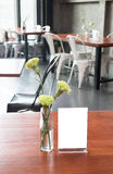 Mock up frame on table in bar restaurant cafe Stock Photography