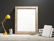 Mock up Frame on Wooden Floor, grey wall Stock Photos