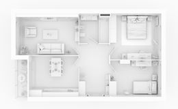Mock up of furnished home apartment. Paper model Stock Photo