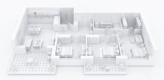 Mock up of furnished home apartment, paper model. 3d render vector illustration