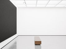 Mock up of gallery interior with black canvas. 3d Stock Images