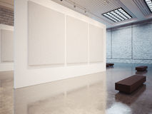 Mock up of gallery interior with white canvas and Royalty Free Stock Photo