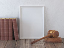 Mock up gavel and vintage lawyer book with space for licence, ce Royalty Free Stock Image