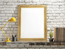 Mock up Golden Frame on Wooden table, brick wall Stock Photography