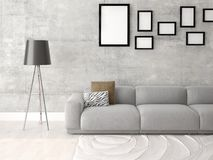 Mock up an interesting living room with an exclusive sofa. Stock Image