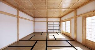 Interior design,modern living empty room with table,tatami mat floor. 3D rendering. Mock up interior design,modern living empty room with table,tatami mat floor royalty free illustration
