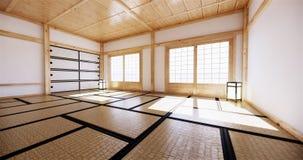 Interior design,modern living empty room with table,tatami mat floor. 3D rendering. Mock up interior design,modern living empty room with table,tatami mat floor vector illustration