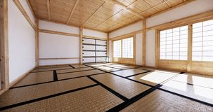 Interior design,modern living empty room with table,tatami mat floor. 3D rendering. Mock up interior design,modern living empty room with table,tatami mat floor stock illustration