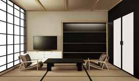 Interior design,modern living room with table on tatami mat floor Japanese style. 3d rendering. Mock up interior design,modern living room with table on tatami vector illustration