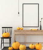 Mock up interior with pumpkins Royalty Free Stock Photography