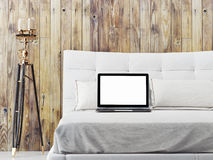 Mock up laptop on bed, 3d illustration Royalty Free Stock Photography